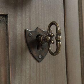 Armoire penderie 3 portes 5 tiroirs en épicéa brun fumé grisé - Natural - Visuel n°9