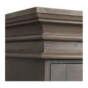 Armoire penderie 3 portes 5 tiroirs en épicéa brun fumé grisé - Natural - Visuel n°12