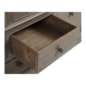 Armoire penderie 3 portes 5 tiroirs en épicéa brun fumé grisé - Natural - Visuel n°13