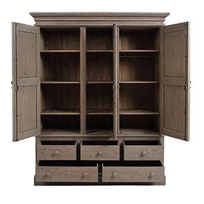 Armoire penderie 3 portes 5 tiroirs en épicéa brun fumé grisé - Natural - Visuel n°2