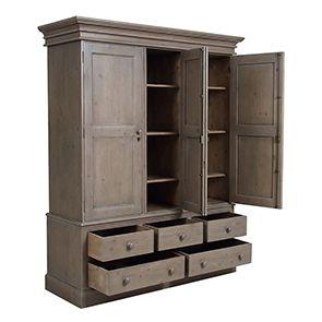 Armoire penderie 3 portes 5 tiroirs en épicéa brun fumé grisé - Natural - Visuel n°3