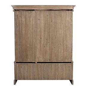 Armoire penderie 3 portes 5 tiroirs en épicéa brun fumé grisé - Natural - Visuel n°6