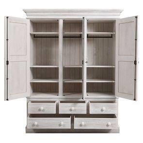 Armoire 3 portes 5 tiroirs en épicéa massif nuage de blanc - Natural - Visuel n°2
