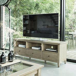 Meuble TV avec rangements en épicéa naturel cendré - First