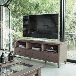 Meuble TV avec rangements en épicéa brun fumé grisé - First