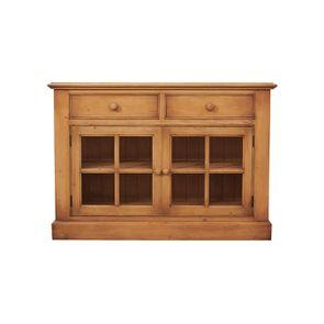 Buffet bas 2 portes vitrées croisillons - Natural
