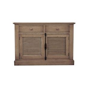 Buffet bas 2 portes persiennes crémone en épicéa brun fumé grisé - Natural - Visuel n°1