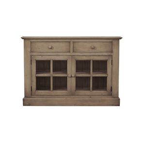 Buffet bas 2 portes vitrées croisillons en épicéa brun fumé grisé naturel ciré - Natural - Visuel n°1