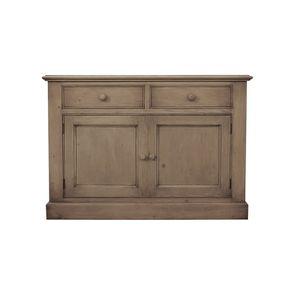 Buffet bas 2 tiroirs 2 portes en épicéa brun fumé grisé - Natural