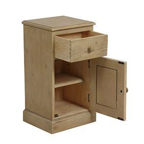 Table de chevet 1 porte 1 tiroir en épicéa naturel cendré - Natural - Visuel n°2