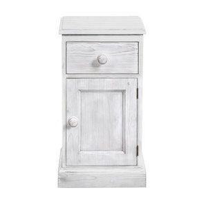 Chevet 1 porte droite 1 tiroir en épicéa massif nuage de blanc - Natural