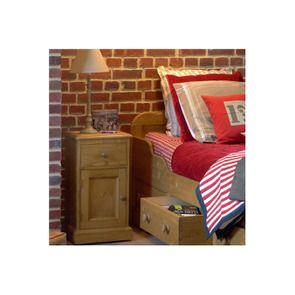 Table de chevet en épicéa 1 porte 1 tiroir - Natural