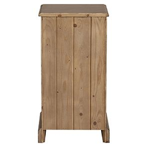 Table de chevet 1 porte 1 tiroir en épicéa brun fumé grisé - Natural - Visuel n°5