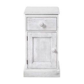 Chevet 1 porte gauche 1 tiroir en épicéa massif nuage de blanc - Natural