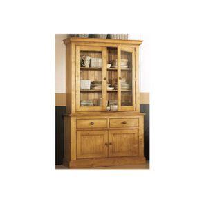 Buffet vaisselier 2 portes vitrées en épicéa naturel ciré - Natural