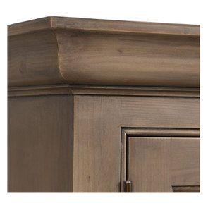 Buffet vaisselier 2 portes vitrées en épicéa brun fumé grisé - Natural - Visuel n°9