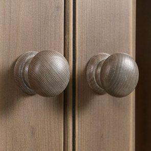 Buffet vaisselier 2 portes vitrées en épicéa brun fumé grisé - Natural - Visuel n°12