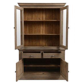 Buffet vaisselier 2 portes vitrées en épicéa brun fumé grisé - Natural - Visuel n°2