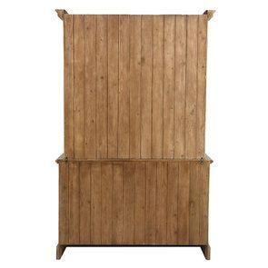 Buffet vaisselier 2 portes vitrées en épicéa brun fumé grisé - Natural - Visuel n°7