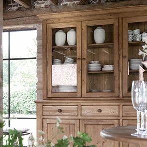 Buffet vaisselier 3 portes vitrées en épicéa naturel ciré - Natural - Visuel n°3