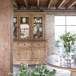Buffet vaisselier 3 portes vitrées en épicéa naturel ciré - Natural