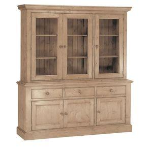 Buffet vaisselier 3 portes vitrées en épicéa naturel cendré - Natural - Visuel n°3