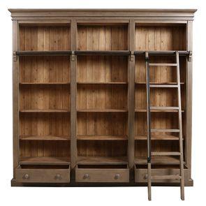 Bibliothèque 3 modules avec échelle en épicéa massif brun fumé grisé - Natural - Visuel n°2