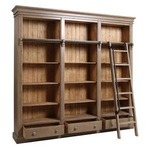 Bibliothèque 3 modules avec échelle en épicéa massif brun fumé grisé - Natural - Visuel n°3