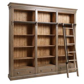 Bibliothèque 3 modules avec échelle en épicéa massif brun fumé grisé - Natural - Visuel n°4