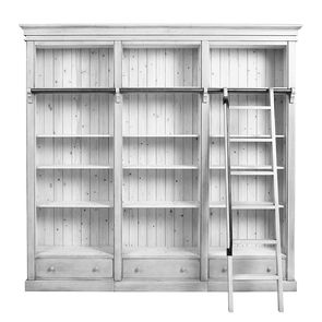 Bibliothèque 3 modules avec échelle en épicéa massif blanc - Natural