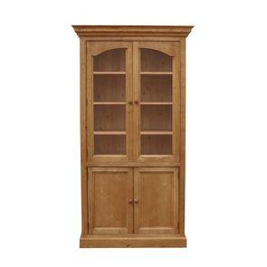 Bibliothèque vitrée 2 portes en épicéa naturel ciré L114 cm - Natural