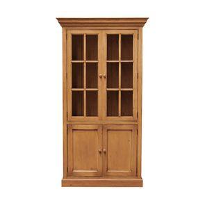 Bibliothèque en épicéa 2 portes vitrées - Natural
