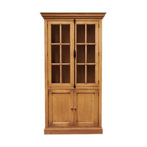 Bibliothèque 2 portes vitrées en épicéa naturel ciré H212 cm - Natural