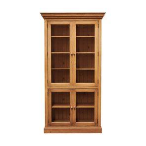 Bibliothèque 4 portes vitrées en épicéa naturel ciré L114 cm - Natural
