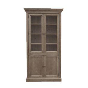 Bibliothèque vitrée en épicéa massif brun fumé grisé - Natural