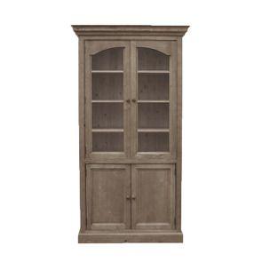 Bibliothèque vitrée en épicéa brun fumé grisé - Natural