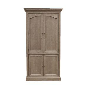 Bibliothèque 4 portes en épicéa brun fumé grisé - Natural