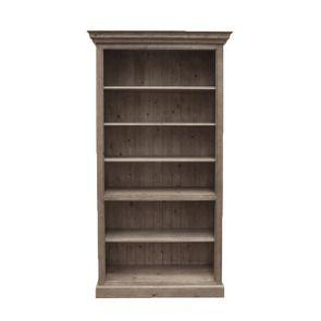 Bibliothèque ouverte 5 étagères en épicéa brun fumé grisé H212 cm - Natural
