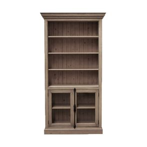 Bibliothèque 2 portes basses vitrées en épicéa brun fumé grisé - Natural
