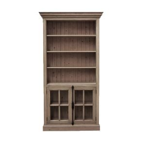 Bibliothèque modulable avec 2 portes basses vitrées en épîcéa massif brun fumé grisé - Natural