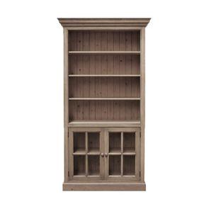 Bibliothèque modulable avec 2 portes vitrées en épîcéa massif brun fumé grisé - Natural