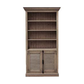 Bibliothèque avec 2 portes basses persiennes en épicéa brun fumé grisé - Natural
