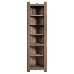 Bibliothèque d'angle ouverte en épicéa massif brun fumé grisé - Natural - Visuel n°2