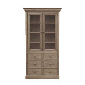 Bibliothèque vitrée 6 tiroirs en épicéa brun fumé grisé - Natural
