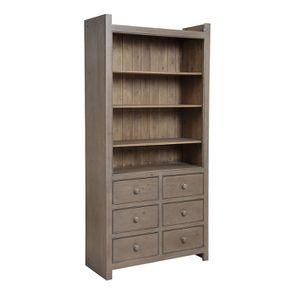 Bibliothèque ouverte 6 tiroirs en épicéa brun fumé grisé - Natural - Visuel n°2