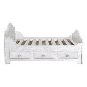 Lit à tiroirs 140x190 cm en épicéa massif nuage de blanc - Natural