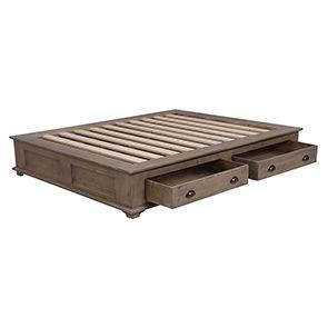 Lit 140x200 avec tiroirs en épicéa brun fumé grisé - First - Visuel n°3