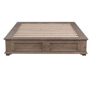 Lit 140x200 avec tiroirs en épicéa brun fumé grisé - First - Visuel n°7