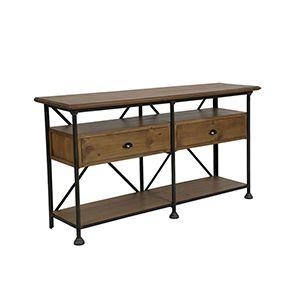 Console industrielle 2 tiroirs en pin massif - Atelier