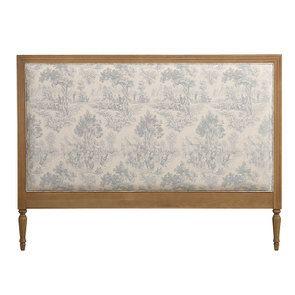 Tête de lit 160 cm en chêne massif et tissu toile de Jouy bleu/gris - Domaine